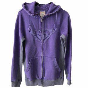Roxy Purple Zip Up Hooded Sweater small